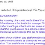 Message on behalf of Superintended, Tim Vanoli