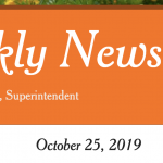 Image of newsletter heading - Weekly Newsletter, Timothy J Vanoli, Superintendent, October 25, 2019