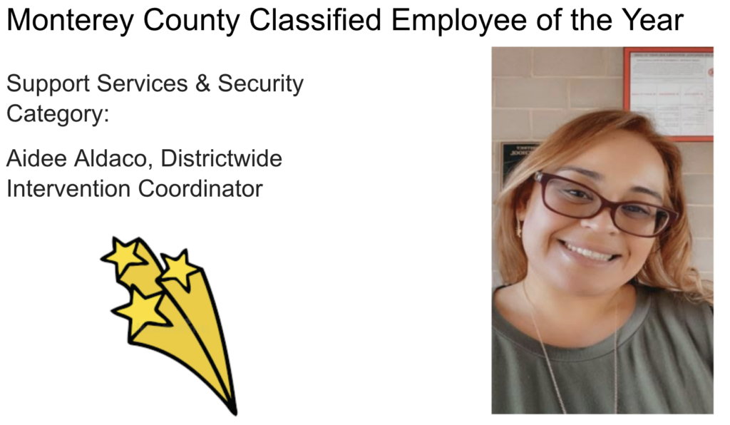 Monterey County Classified Employee of the Year in support services and security category, Aide Aldaco, district wide intervention coordinator. Image of the person is here.