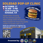 Flyer for Oct 17 services offered in pop up clinic
