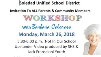 Invitation to All Parents & Community Members Workshop with Barbara Coloroso