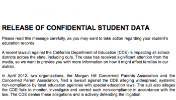 RELEASE OF CONFIDENTIAL STUDENT DATA