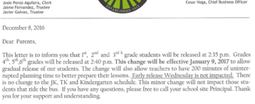 Elementary Release Time Change