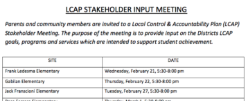 2018 LCAP Stakeholder Meetings