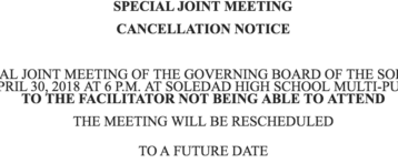 CANCELLATION OF THE SPECIAL JOINT MEETING-4/30/18